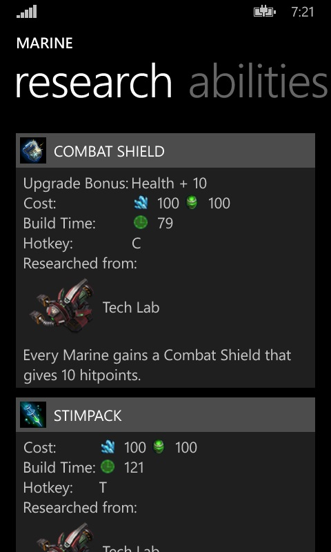 The unit screen Research tab