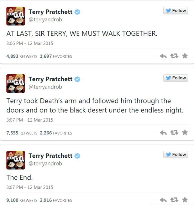 Terry Pratchett death tweet
